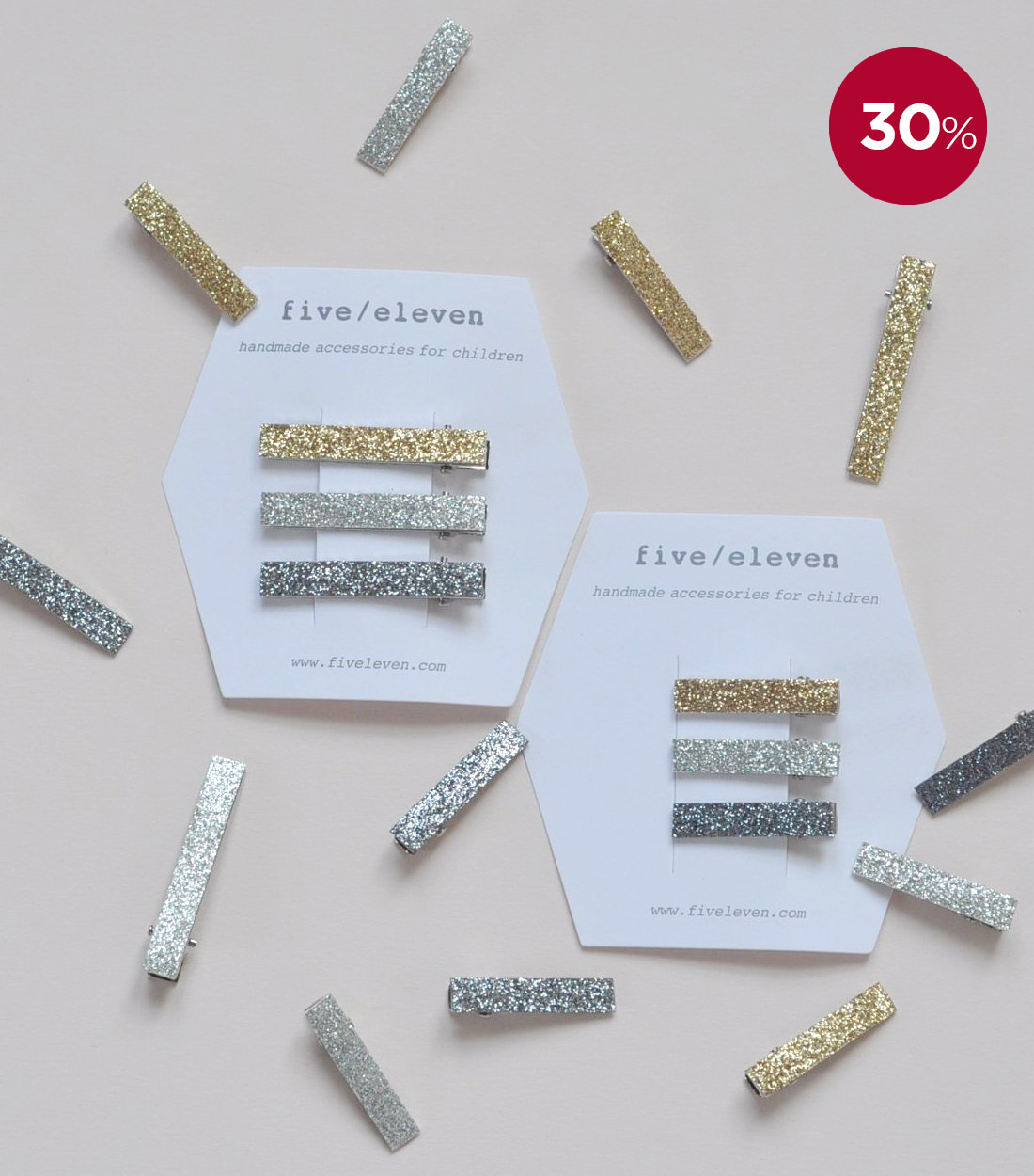 파이브앤일레븐 GLITTER - SET OF 3 CLIPS / 2 types