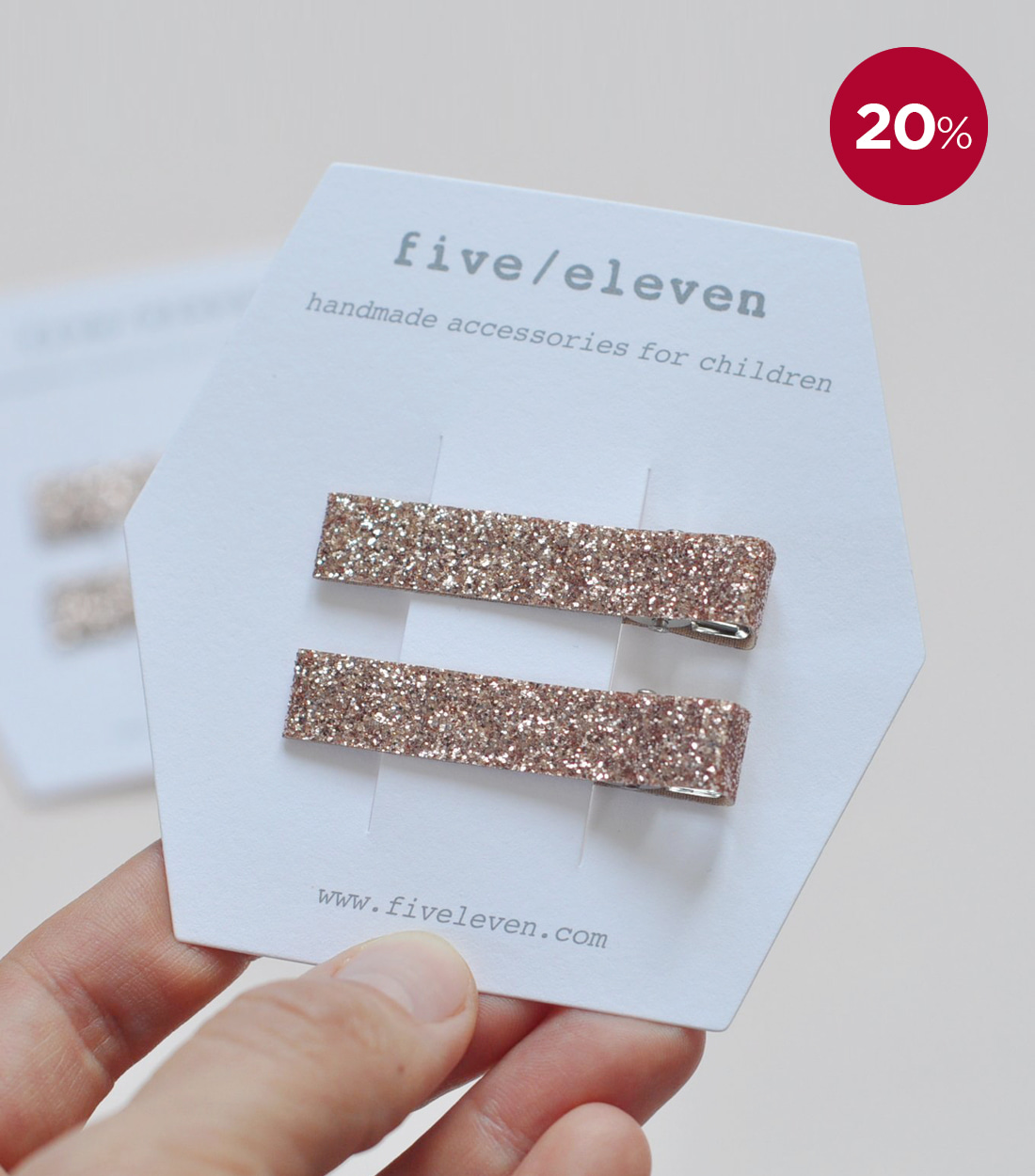 파이브앤일레븐 GLITTER / CHAMPAGNE - SET OF 2 CLIPS