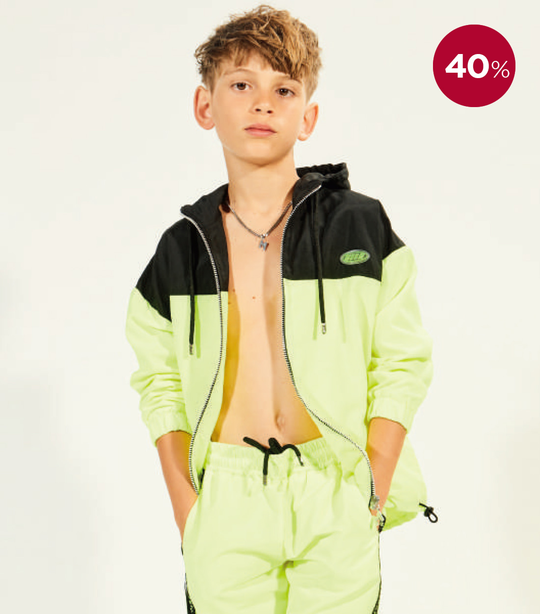 MSGM NYLON JACKET BOY / BLACK&YELLOW FLUO